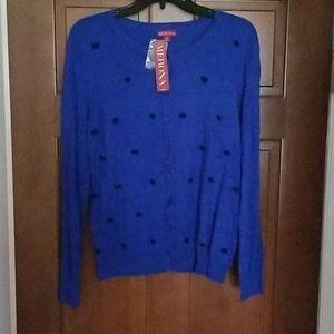 Merona Royal Blue Black Bowtie Button Cardigan L